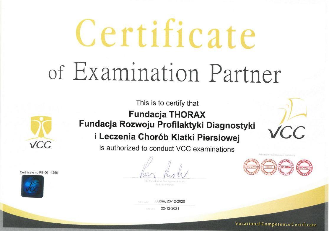 Certyficate of Examination Partner